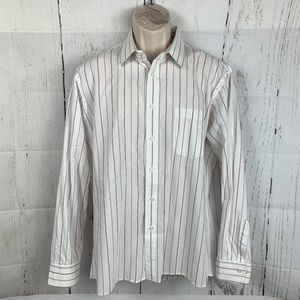 Christian Dior White Red Gray Striped Shirt